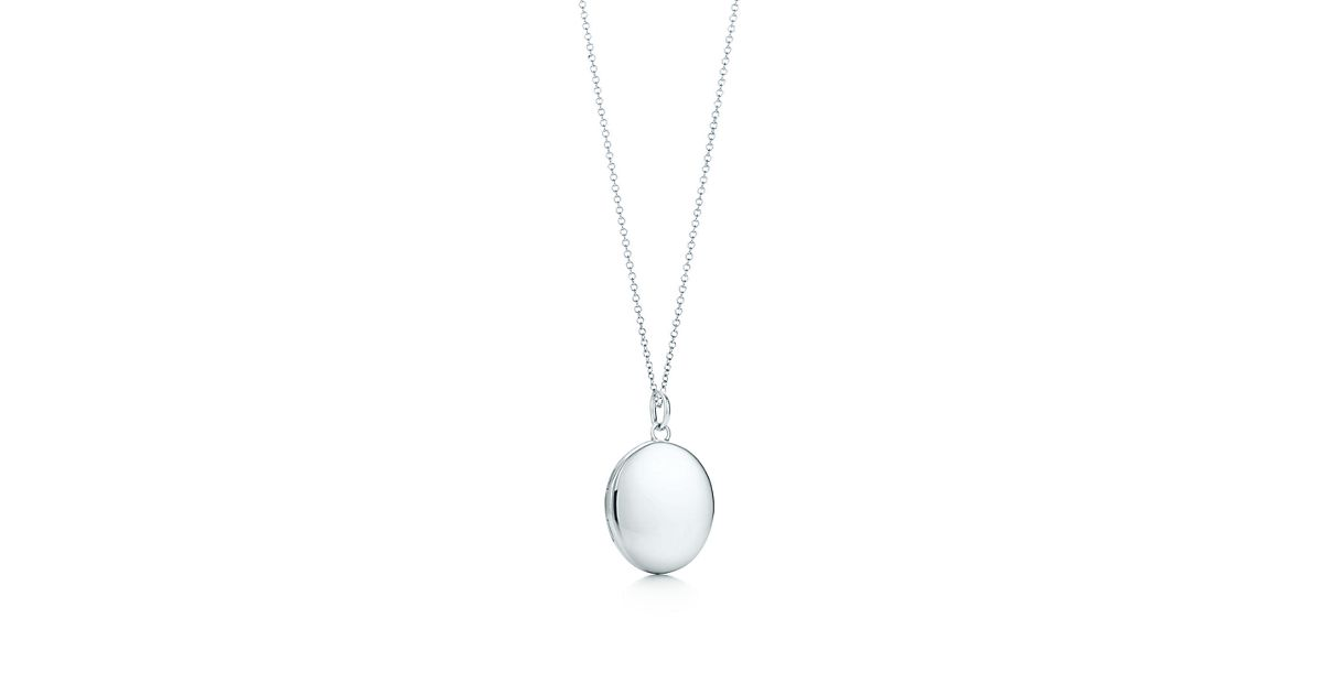 Oval locket in sterling silver on a chain tiffany co aloadofball Images