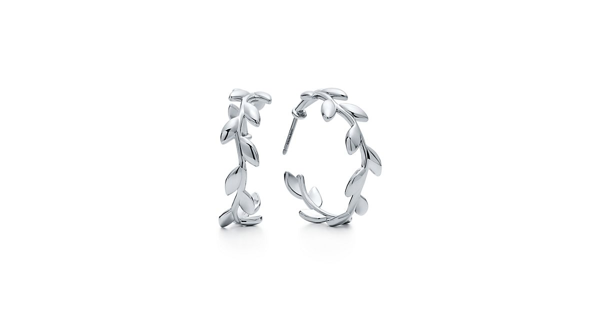 paloma picasso174 olive leaf hoop earrings in sterling