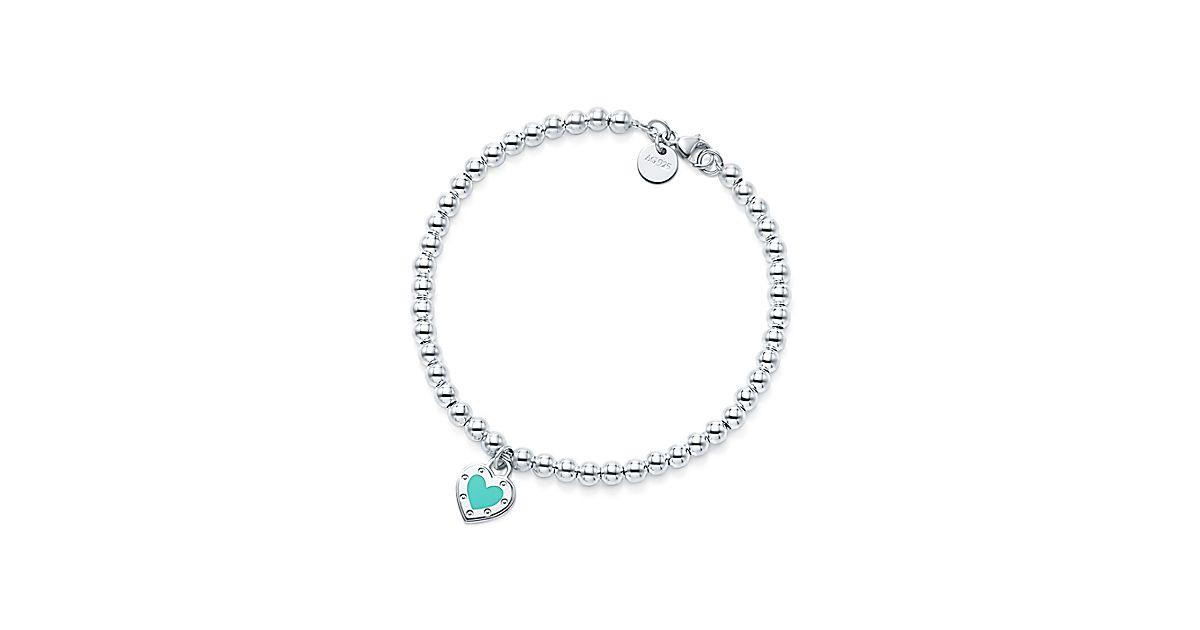 Return To Tiffany Love Heart Bead Bracelet In Silver With Enamel Finish Co