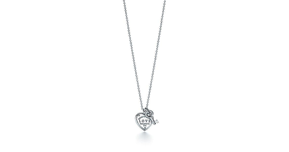 Sterling silver love heart tag and key pendant tiffany co aloadofball Image collections