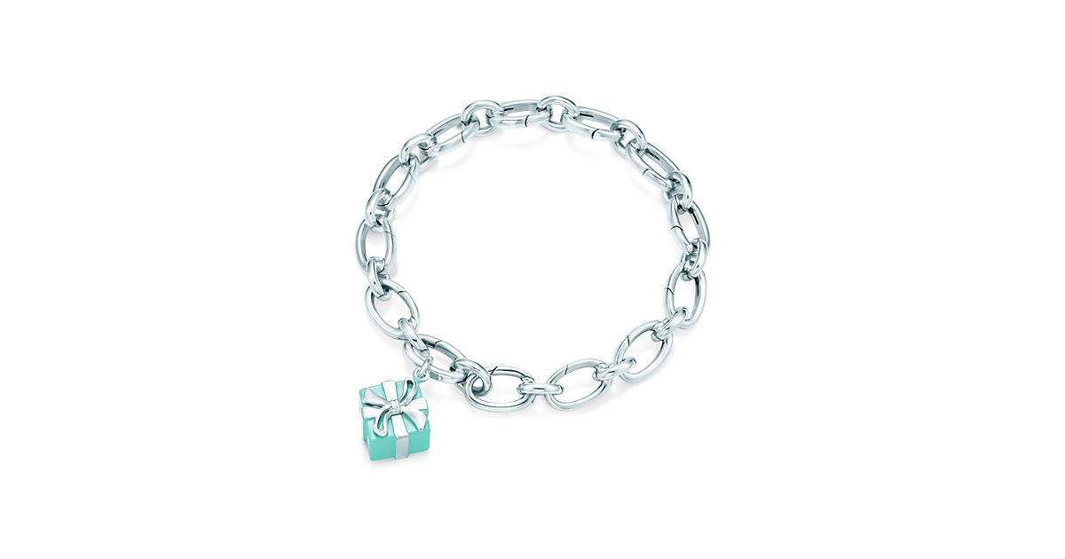 Tiffany Blue Box charm in sterling silver with enamel finish on a