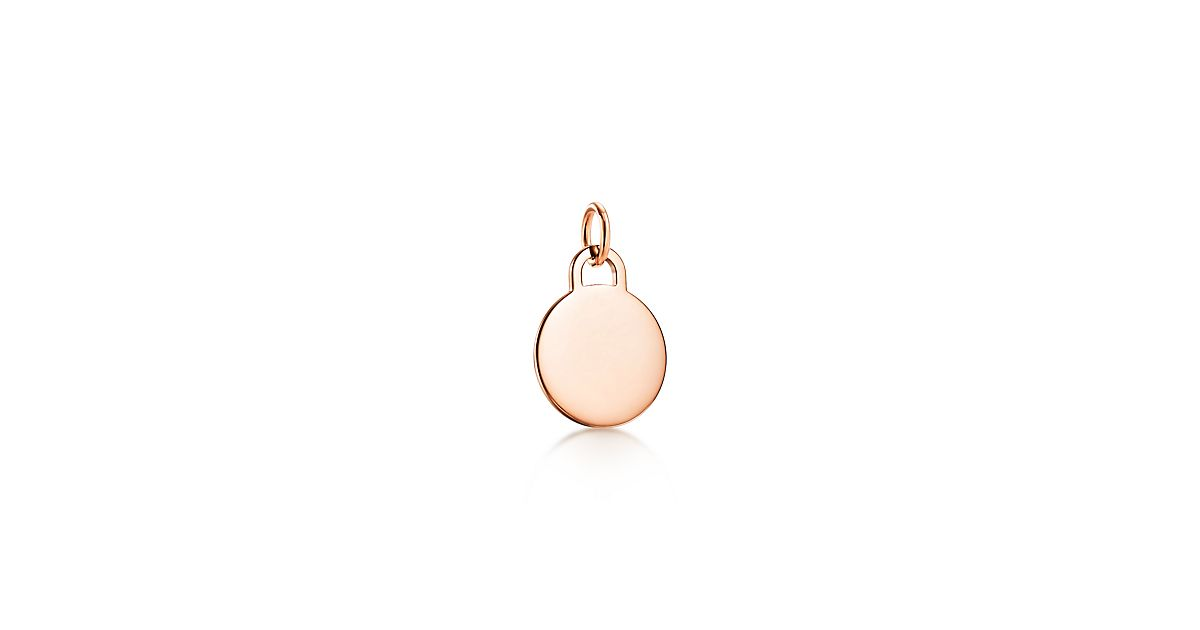 Tiffany Charms round tag charm in 18k rose gold, small Tiffany & Co.