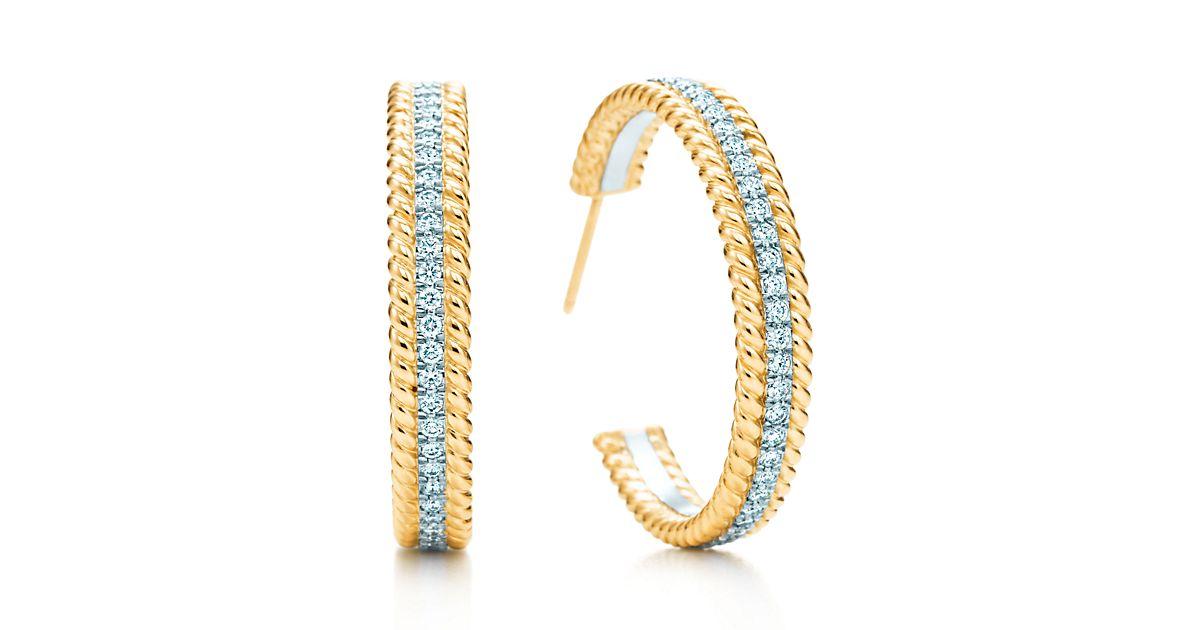 Medium 18K Gold Two Row Rope Hoop Earrings