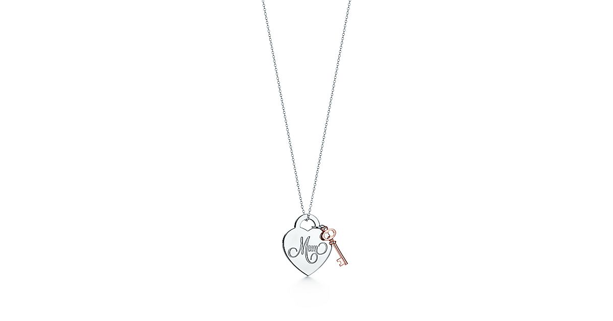 Mom heart key pendant in sterling silver and rubedo tiffany co aloadofball Gallery