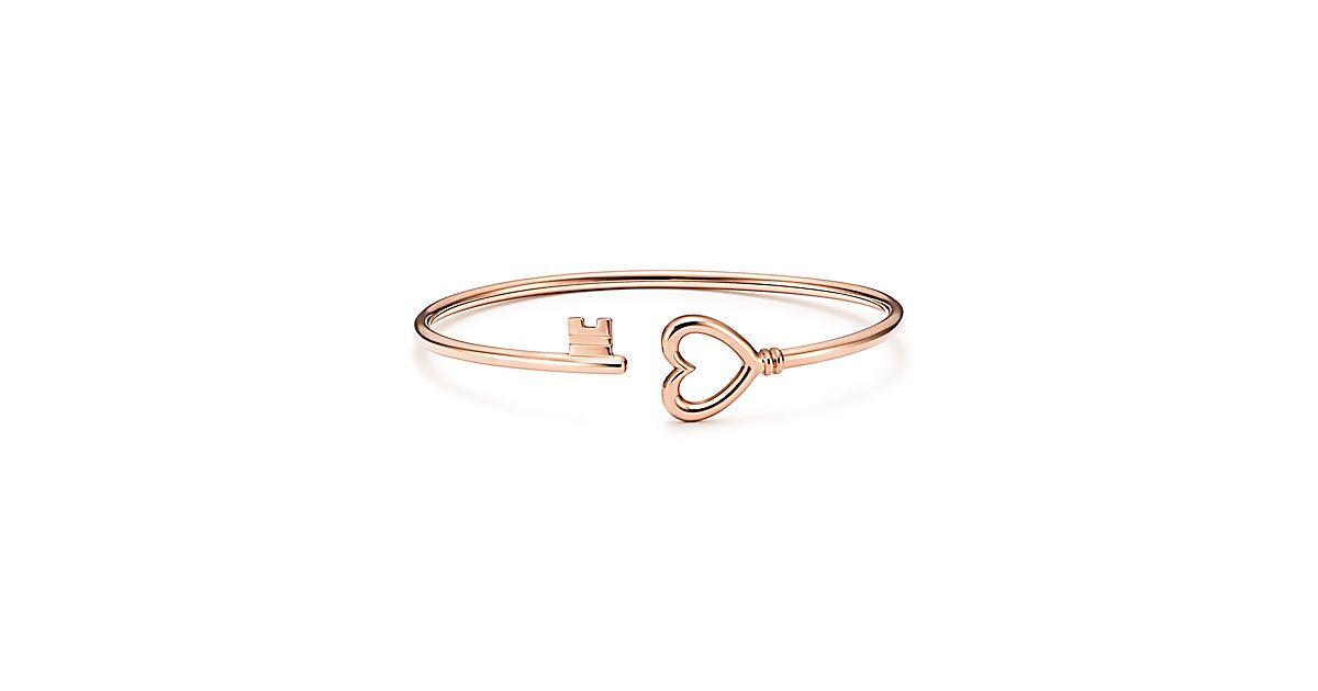 Tiffany Keys Wire Heart Bracelet In 18k Rose Gold Medium Co