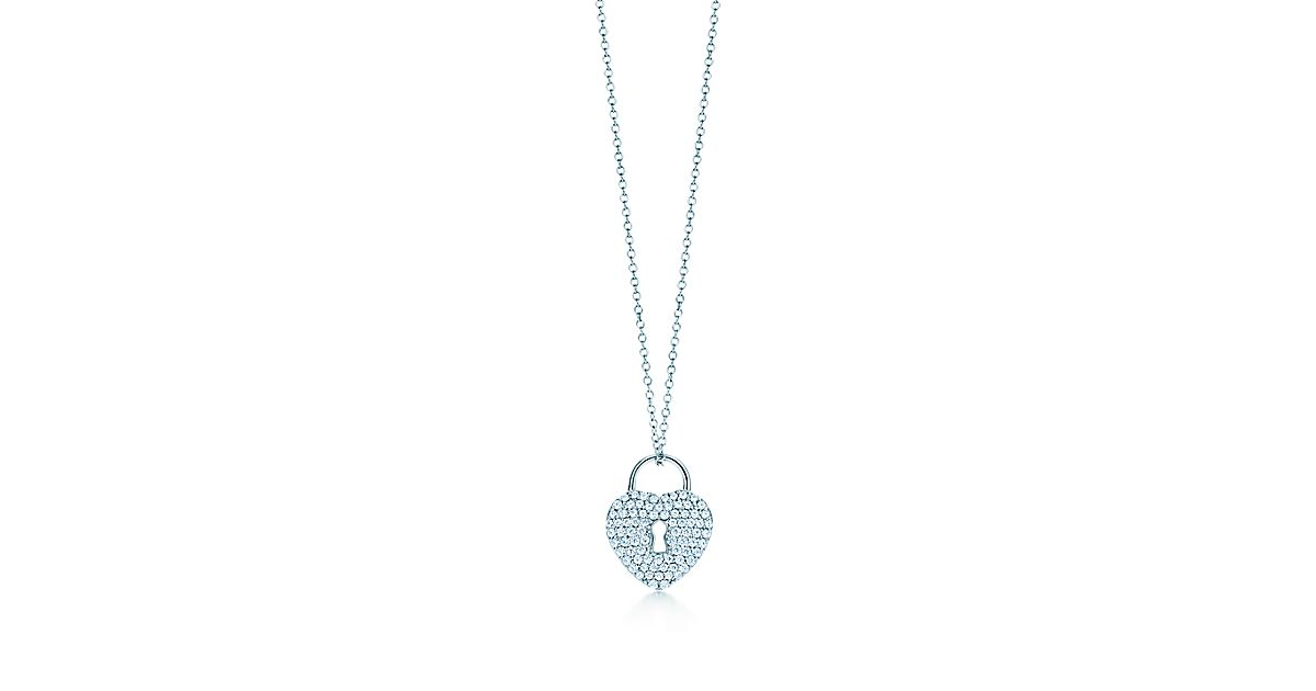 Tiffany locks heart lock pendant in platinum with diamonds on a 16 tiffany locks heart lock pendant in platinum with diamonds on a 16 chain tiffany co aloadofball Choice Image