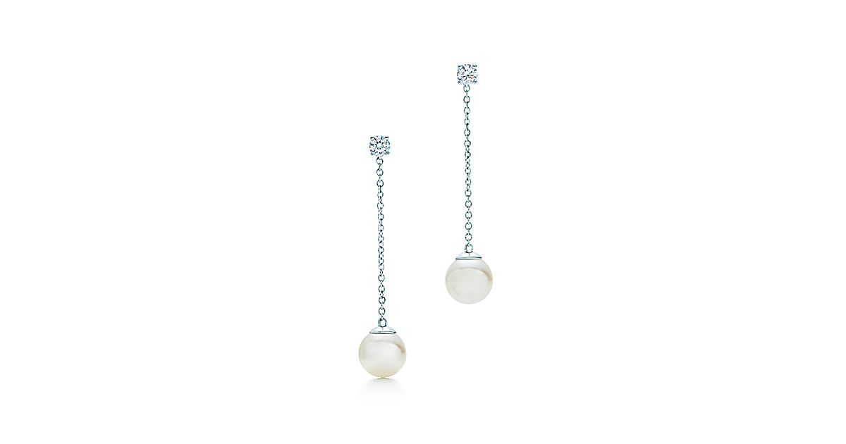 Tiffany Signature Pearls Drop Earrings In White Gold With And Diamonds Co