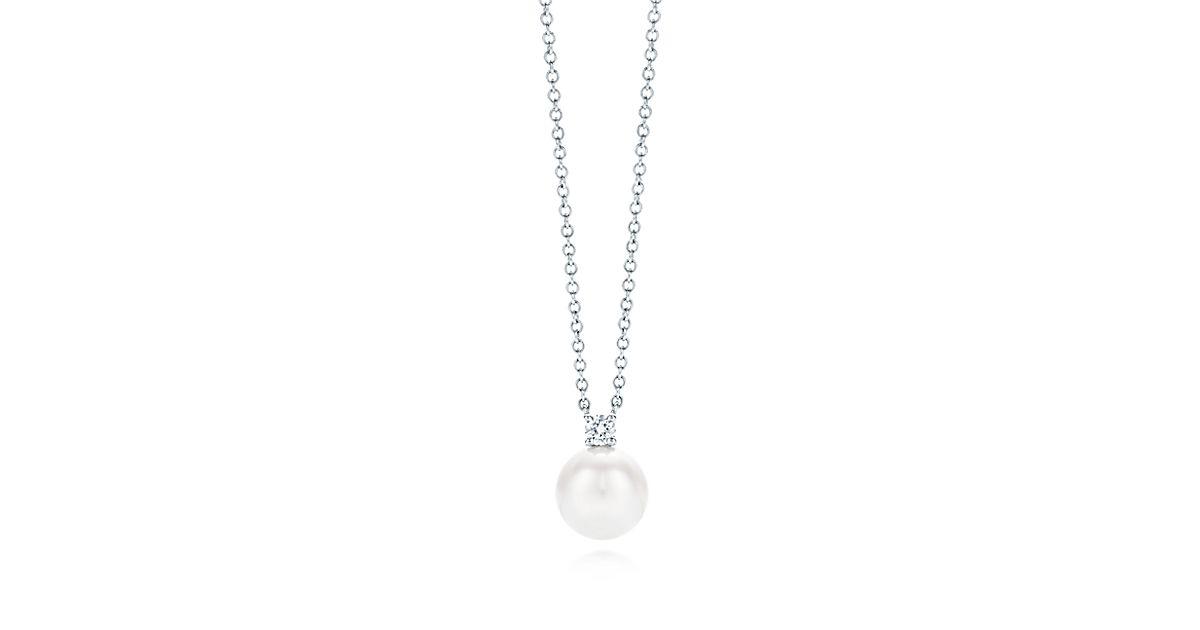 Tiffany signature pearls pendant in 18k white gold with a pearl and tiffany signature pearls pendant in 18k white gold with a pearl and a diamond tiffany co aloadofball Choice Image