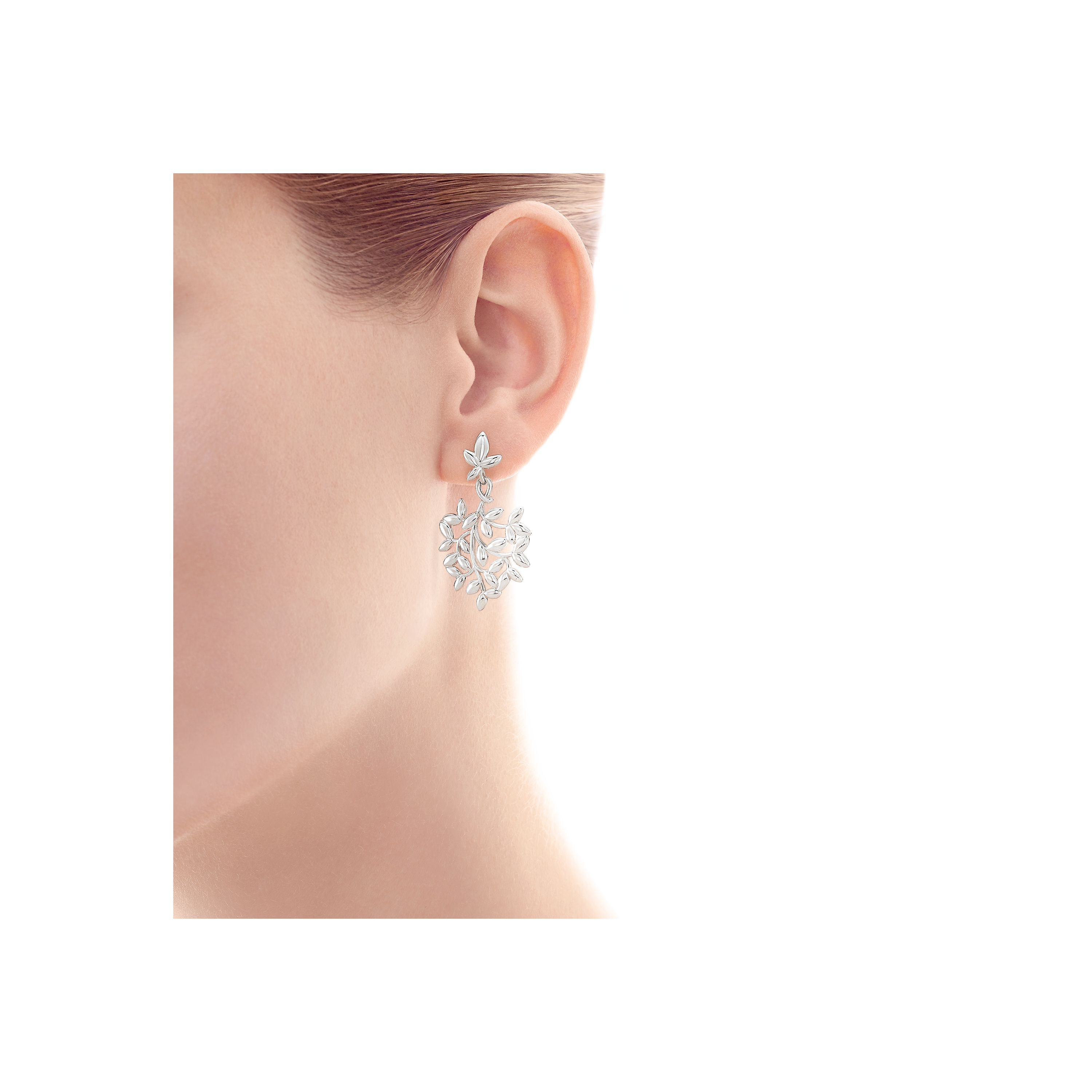 Paloma Picasso Olive Leaf drop earrings in sterling silver with pearls Tiffany & Co. N2FcNB