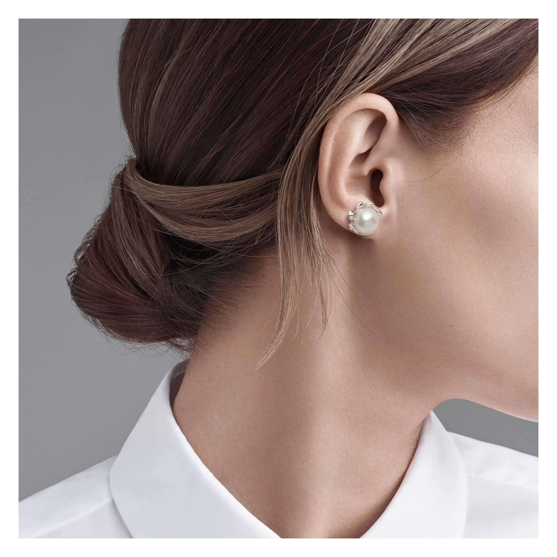 Paloma Pico Olive Leaf Pearl Earrings Model Shot 1