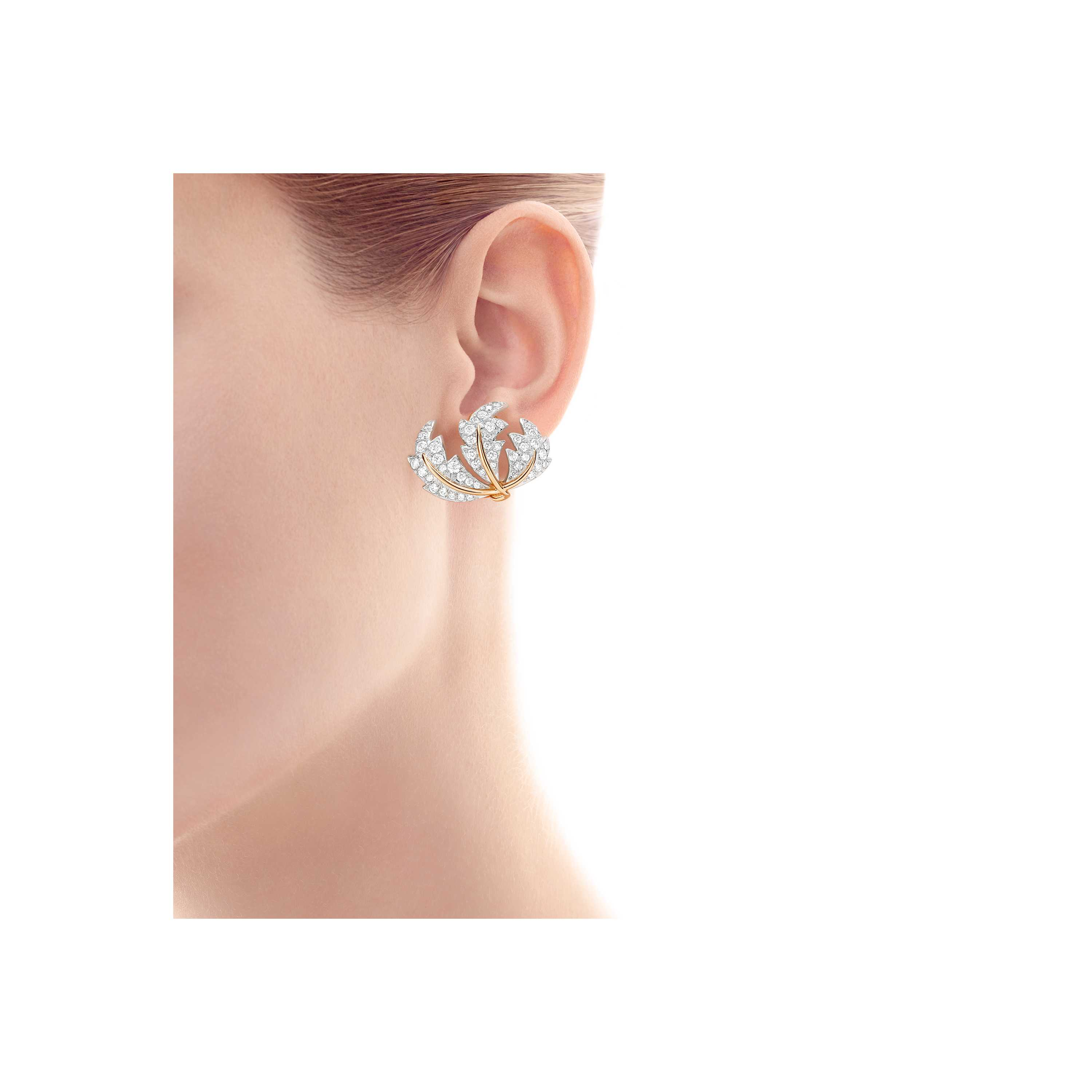 Tiffany Co Schlumberger Three Leaves Ear Clips Model Shot 1