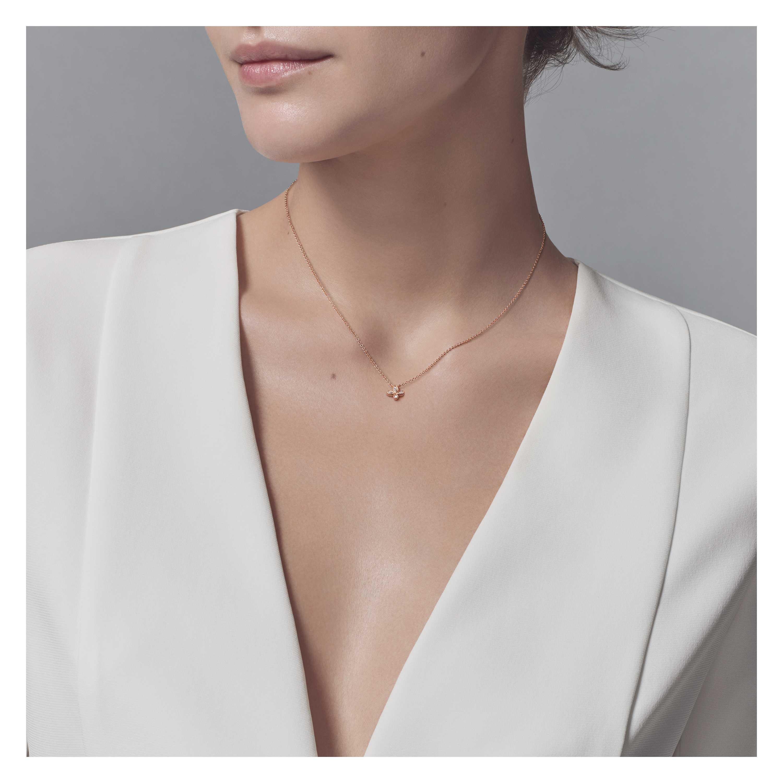 Tiffany fleur de lis pendant in 18k rose gold with diamonds mini tiffany fleur de lispendantmodel shot 1 aloadofball Choice Image