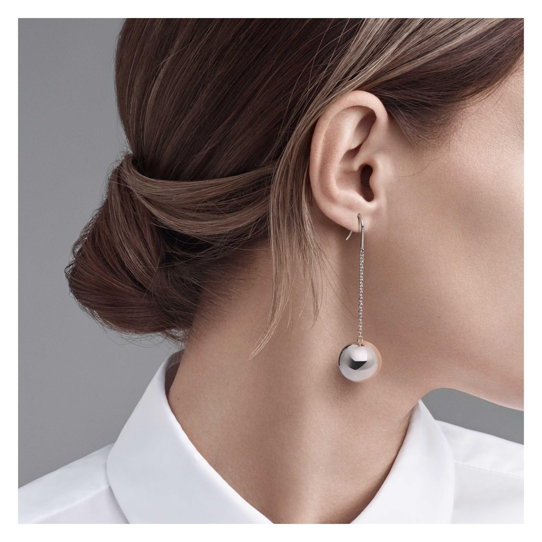 Tiffany Hardwear Ball Hook Earrings Model Shot 1