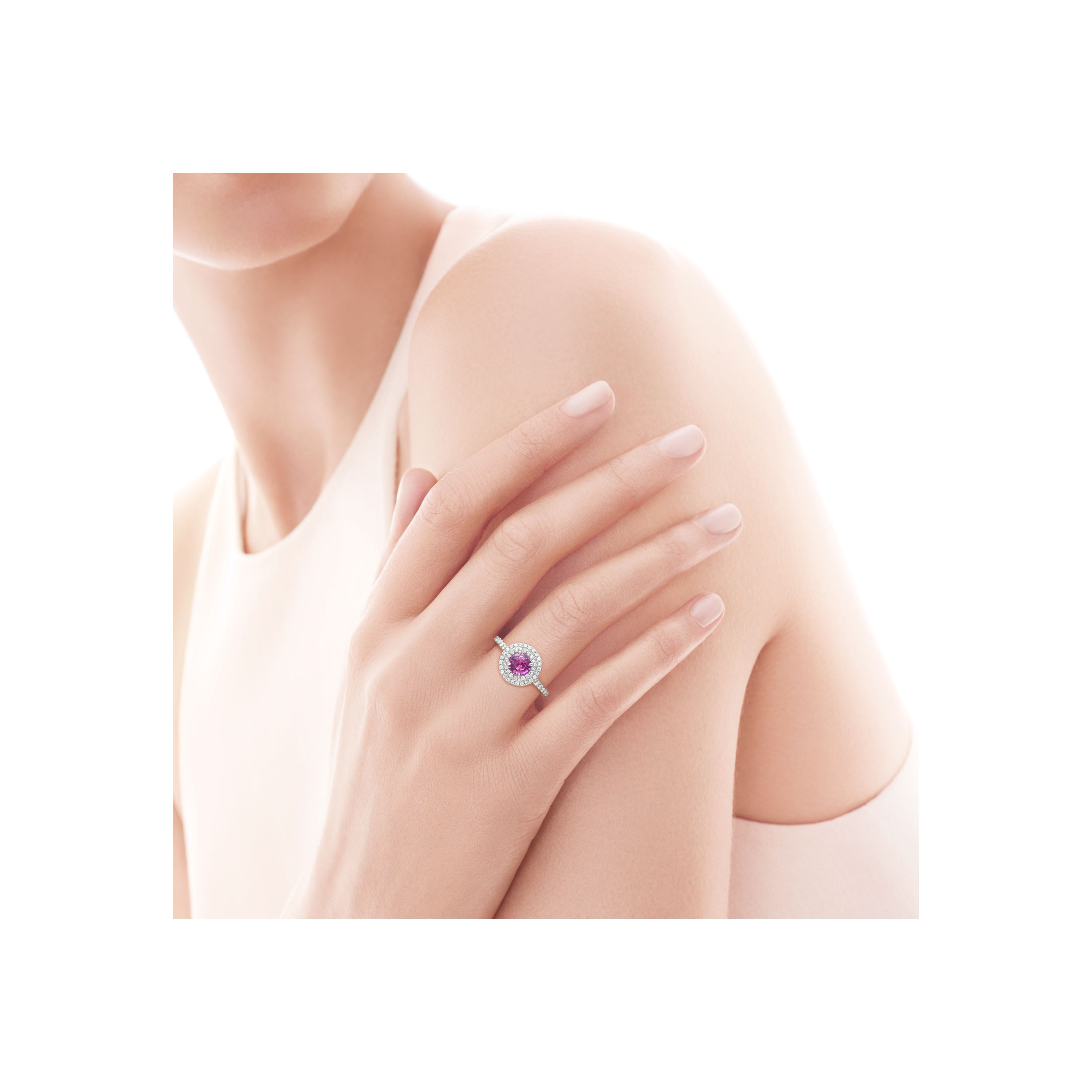 Tiffany Sapphire Enement Ring | Tiffany Soleste Ring In Platinum With A 45 Carat Pink Sapphire And