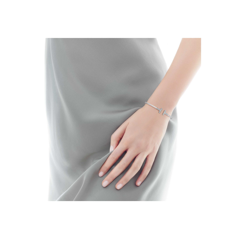 Tiffany T wire bracelet in 18k white gold with diamonds, medium ...