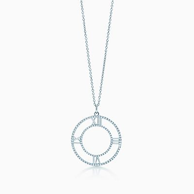 Tiffany Keys Atlas key pendant in 18k white gold with diamonds, medium Tiffany & Co.