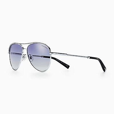 9434fe7df98 likelike solidReturn to Tiffany™ Color Splash Oval SunglassesCDN 430.  Diamond Point aviator sunglasses in silver-colored metal.