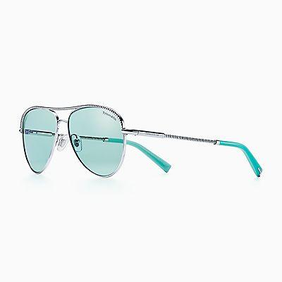 0925234b684 Diamond Point aviator sunglasses in silver-coloured metal.