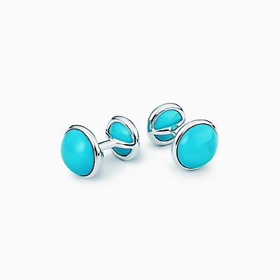 e824c27971d Elsa Peretti® Cabochon cuff links in sterling silver with turquoise.