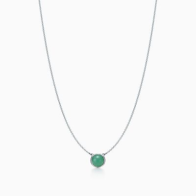 Elsa Peretti Color by the Yard necklace in silver with green aventurine and dia Tiffany & Co. RZpmZQMe