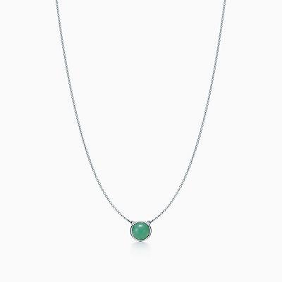Elsa Couleur Peretti Par Le Collier De Cour En Argent Avec Aventurine Vert Et Dia Tiffany & Co. IEO6Mugqp