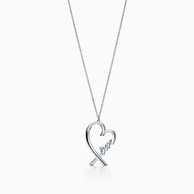 Paloma Picasso Loving Heart double bar pendant in silver with a diamond Tiffany & Co. 6AsA9WgqQZ
