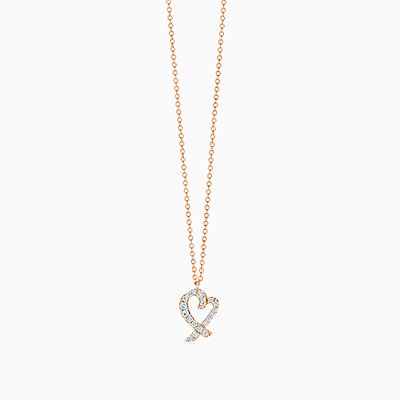Paloma Picasso Loving Heart interlocking pendant in 18k rose gold Tiffany & Co. 1LaPqL