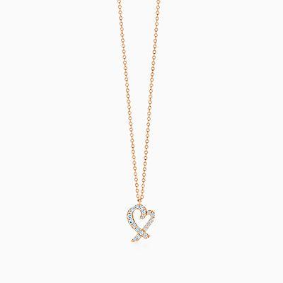 Paloma Picasso Loving Heart interlocking pendant in 18k rose gold Tiffany & Co. wEOcB