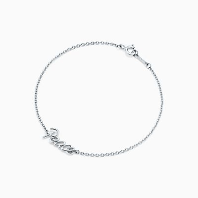 Tag Paix Graffiti Palomas En Argent Sterling Sur Un Bracelet De Perles, Un Grand Tiffany & Co.