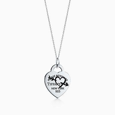 Berloque coração e flecha gravados Return to Tiffany™ em prata de lei,  grande. 5fb0920dee