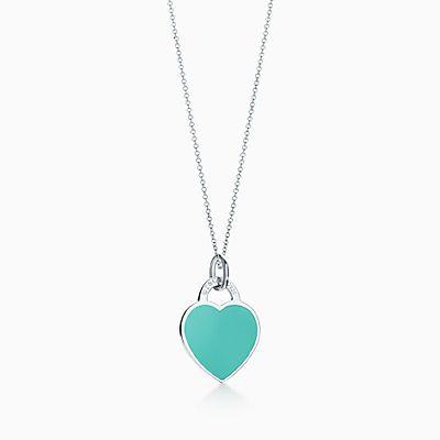Berloque coração Return to Tiffany® prata de lei acabamento esmaltado,  pequeno. 595b1a0418