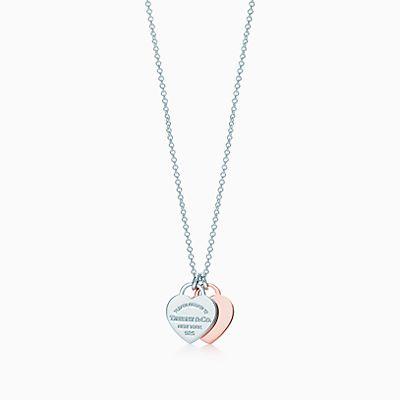 Pendente de coração duplo da coleção Return to Tiffany® em metal Rubedo® e  prata 80b40601a0