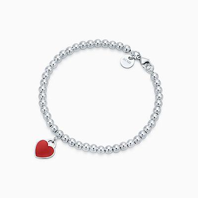 pendente de coração duplo miniR  620. Pulseira de contas Return to Tiffany™  prata, esmaltada vermelho, média. 70b6246fca