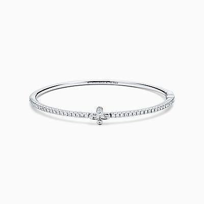 Tiffany Fleur De Lis Bangle In 18 White Gold With Diamonds, Medium.