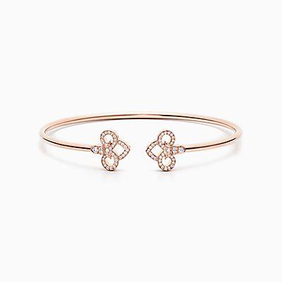 Tiffany Fleur De Lis Wire Bangle In 18k Rose Gold With Diamonds, Medium.