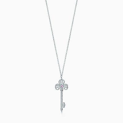 Shop tiffany keys necklace collection tiffany co tiffany keys enchant heart key pendant in platinum with gemstones aloadofball Gallery
