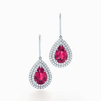 Tiffany Soleste Earrings In Platinum With Rubellites And Diamonds