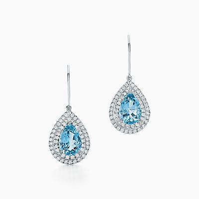 Tiffany Soleste Earrings In Platinum With Diamonds And Aquamarines