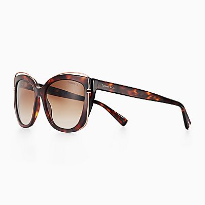 557f8ab182 Tiffany T cat eye sunglasses in tortoise acetate and rose gold-coloured  metal.