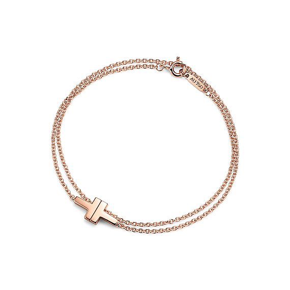 Tiffany T Two Double Chain Bracelet In 18k Rose Gold Medium Co