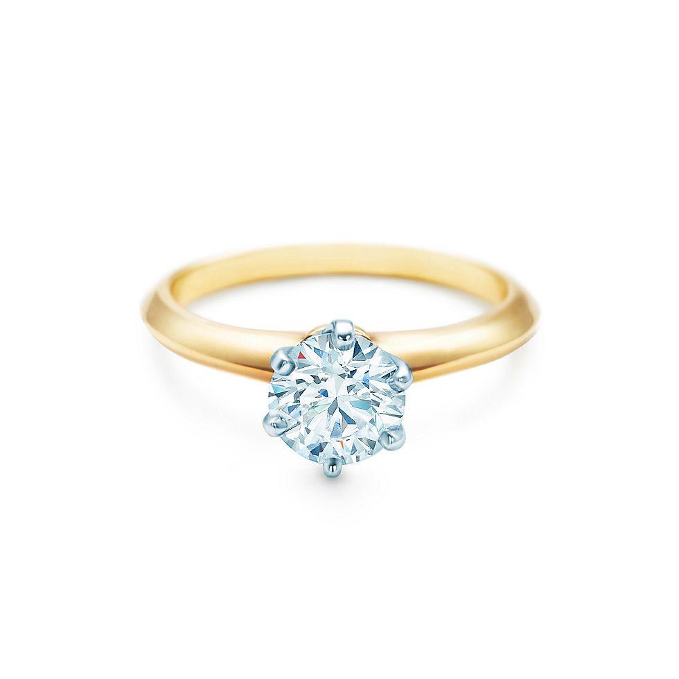 Prächtig Der Tiffany® Setting in 18 Karat Gelbgold Verlobungsringe @JE_77