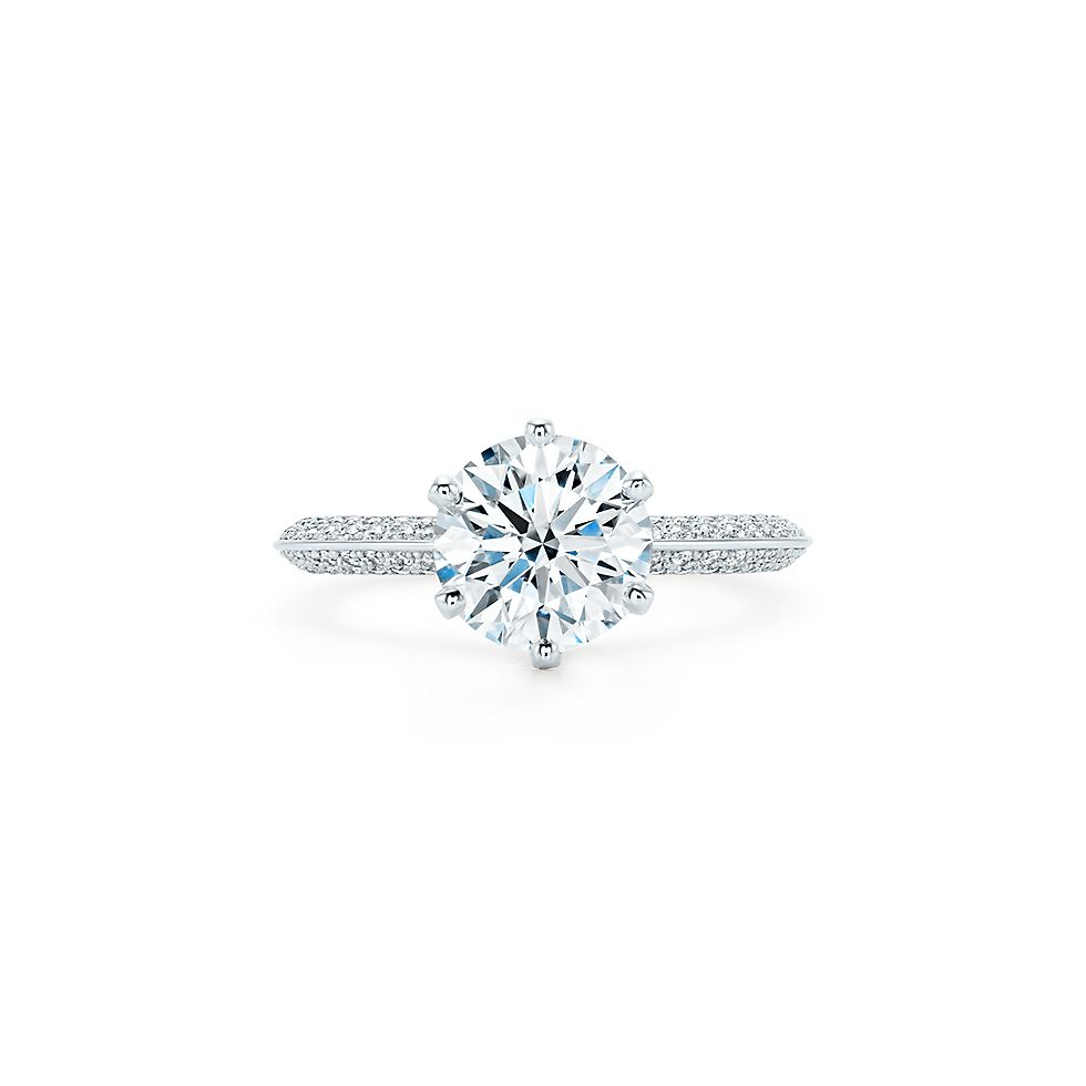 the tiffany setting pavé diamond band in platinum engagement rings