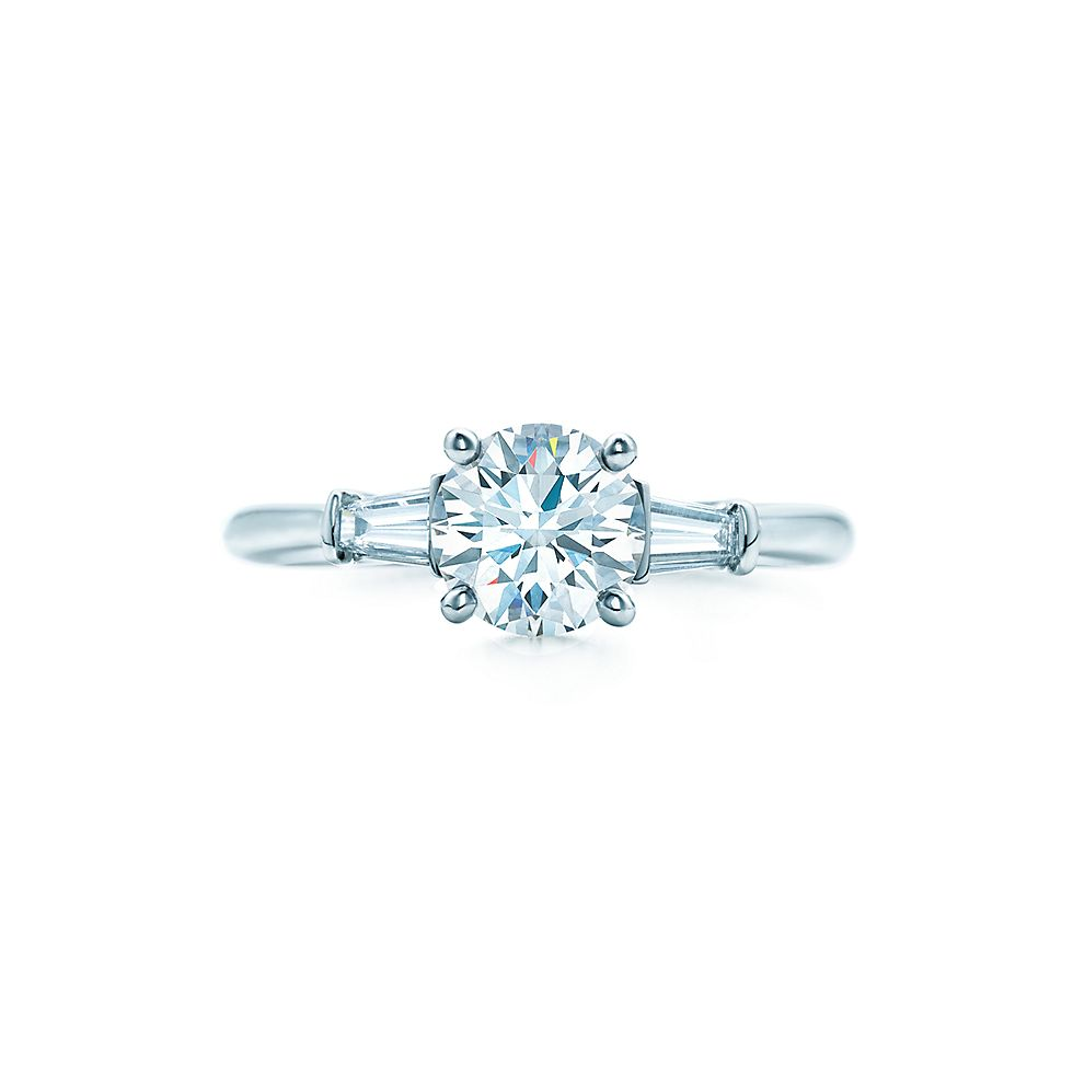 Round Brilliant With Tapered Baguettes Diamond Engagement Rings