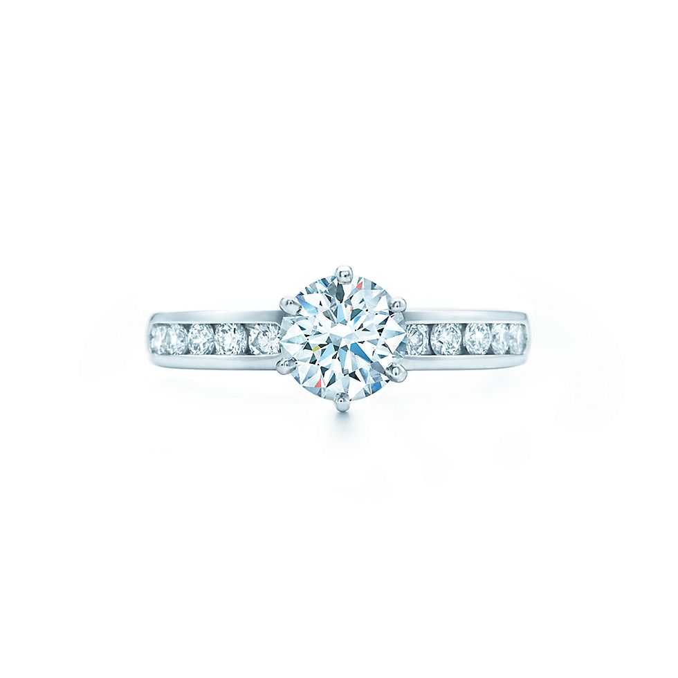 The Tiffany Setting En Ement Ring With Diamond Band In Platinum