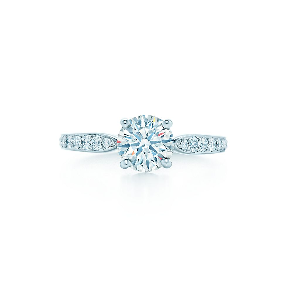 Tiffany Harmony Round Cut With Bead Set Band Engagement Rings