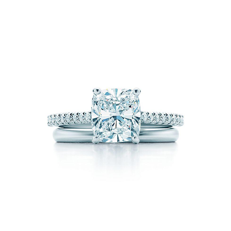 fa99dfeebfa25 Tiffany Novo®  Cushion Cut with Platinum Pavé-set Band Engagement ...