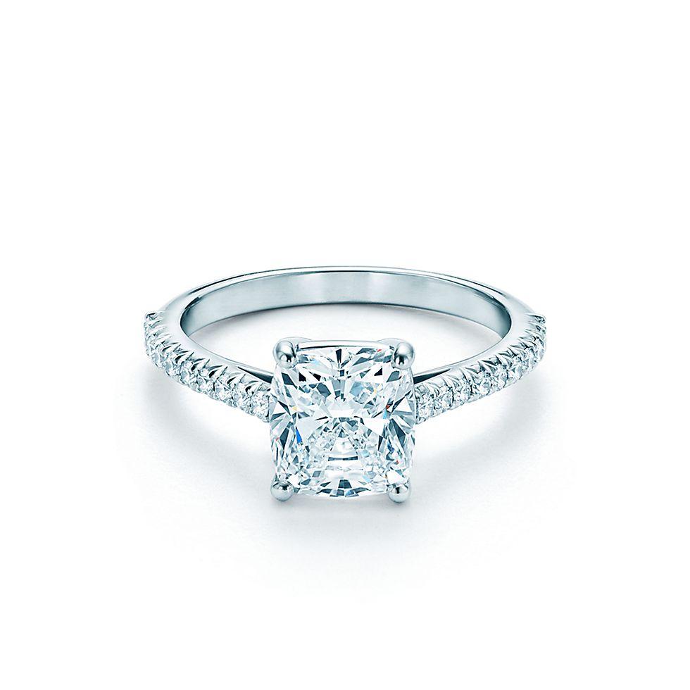 Tiffany Soleste Cushion Cut Halo Diamond With Diamond Band