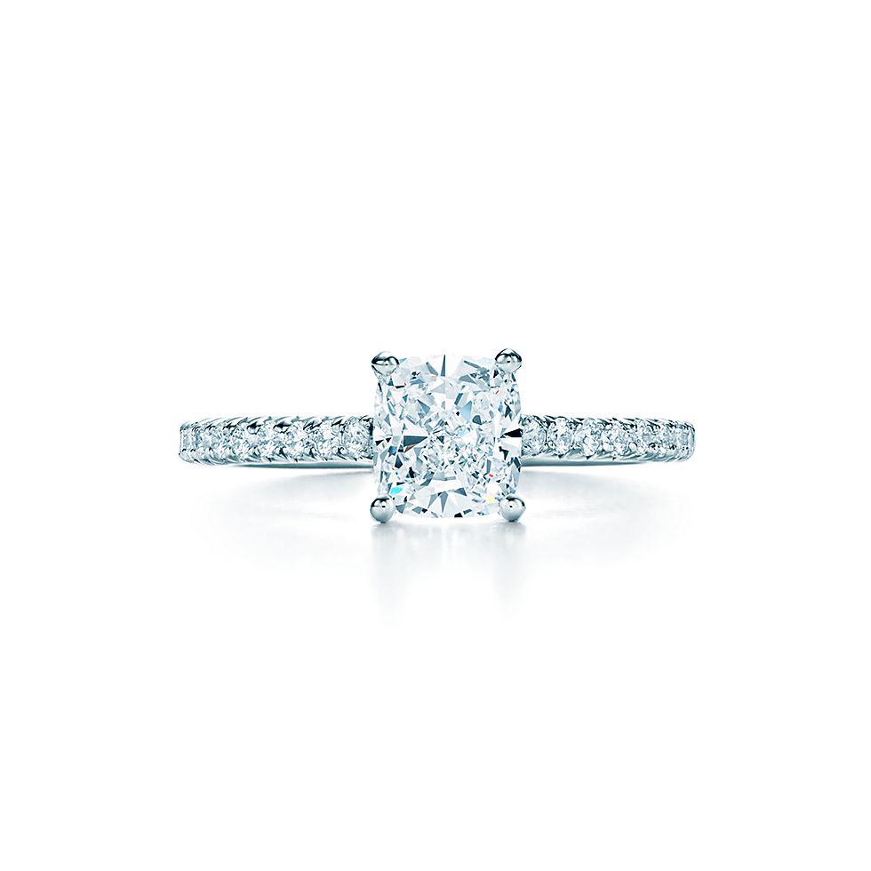 f5973b6394f2e Tiffany Novo® Cushion Cut Diamond Engagement Ring with Pavé-set diamond Band