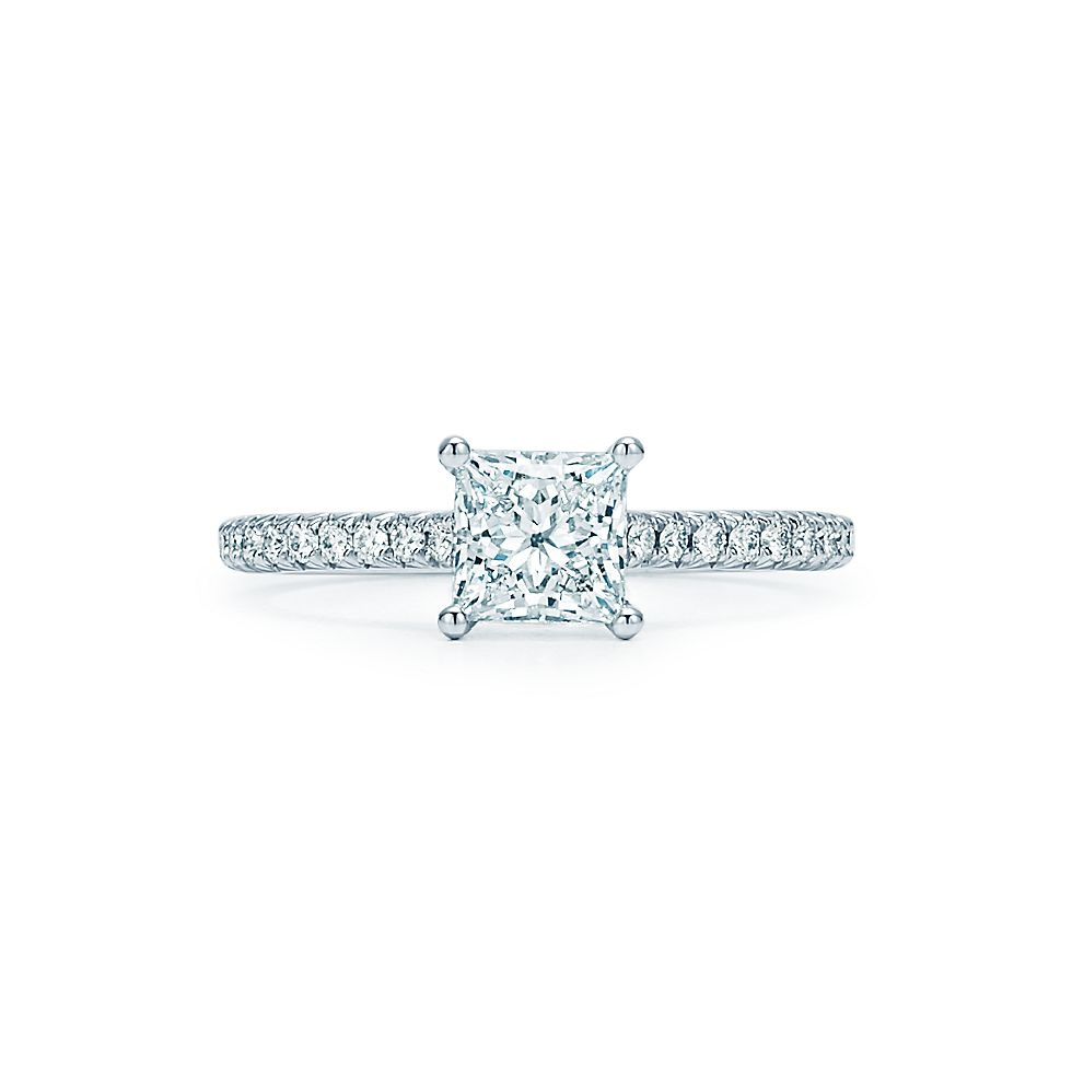 Tiffany Novo Princess Cut Engagement Ring With Pavé Set Diamond Band In Platinum Rings Co