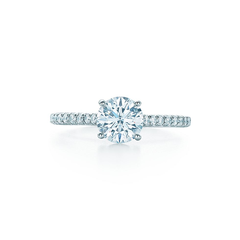 Tiffany Novo Round Brilliant With Pavé Set Diamond Band Engagement Rings Co